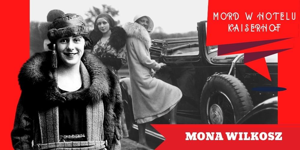 Na tle starego samochodu igrupki kobiet stoi uśmiechnięta młoda kobieta. Napis mówi, żetoMona Wilkosz.