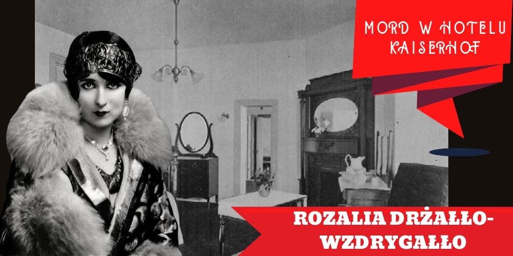 Piękna kobieta Rozalia Drżałło-Wzdrygałło natle hotelowego pokoju.