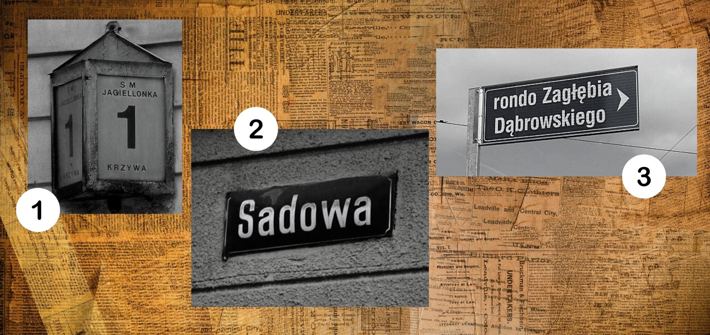 Numer 1 toulica Krzywa. Numer 2 toulica Sadowa. Numer 3 torondo Zagłębia Dąbrowskiego..